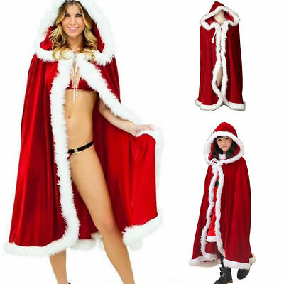 Adult Kid Christmas Xmas Santa Claus Velvet Fur Hooded Cloak Cape Cappa Cosplay