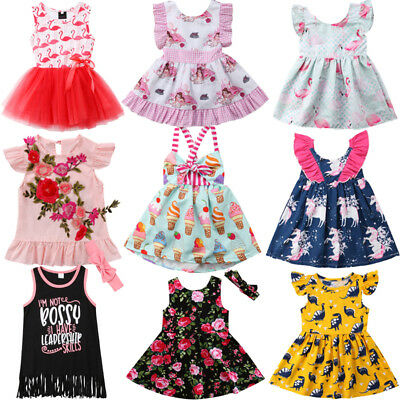 AU Sweet Lace Newborn Kids Baby Girl Unicorn Dress Skirt Sundress Outfit Clothes