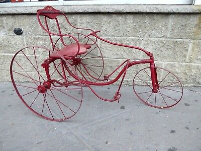 RARE ANTIQUE 1890's CHILD'S  PEDAL CART TRICYCLE (VELOCIPEDE) ORIGINAL VERY NICE