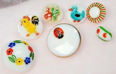 Antique VINTAGE Buttons 7 COLORFUL Hand Painted Glass INSECT Animals & More B19