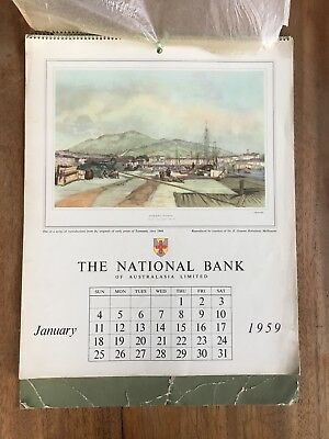 Vintage 1959 National Australia Bank Calendar 1844 Early Prints Of Tasmania