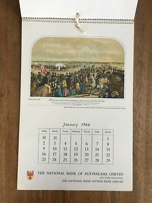 Vintage 1966 National Australia Bank Calendar Early Social Life In Australia