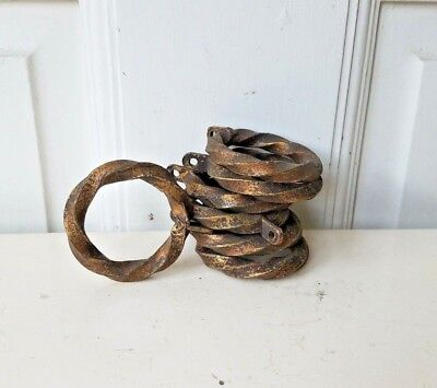 Set of 13 Vintage cast brass large curtain rings, Antique curtain rod rings