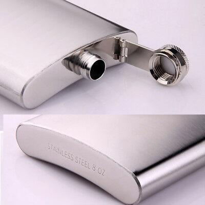 7oz Stainless Steel Hip Flask Liquor Whiskey Drink +Cups Funnel Box Set Use Part
