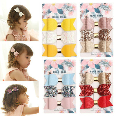 3x Sequins Bow Hair Clips Boutique 9cm Faux Leather Baby Girls Hair Accessories