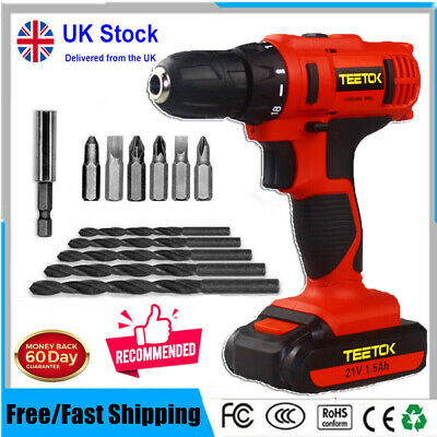 21V Cordless Combi Drill Dual Speed + Li-Ion Fast Charge + Case DEWORX