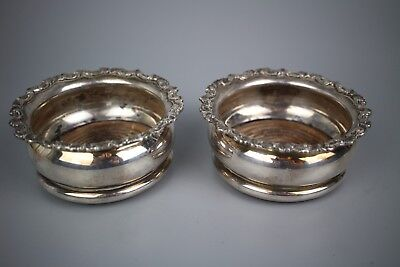 SHEFFIELD SILVER PLATE MOUNTED DECANTER OR BOTTLE COASTERS PAIR Barker Brothers