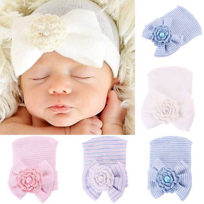 Sweet Newborn Baby Hospital Hat Beanie With Bow Cute Soft Sweet Baby Caps Hot