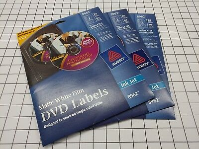 20 disc labels 40 spine labels stickers avery inkjet cd dvd matte
