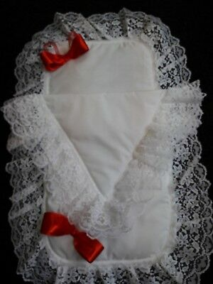 Romany Frilly White and Red Hand Made First Size Dolls Pram Set