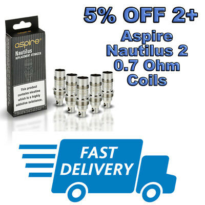 ASPIRE NAUTILUS 2 COILS 0.7 ohm (Pk 5) GENUINE Zelos, K3 Coil Heads, Mini BVC