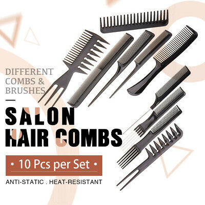 10Pcs/Set Beauty Salon Hair Styling Hairdressing Plastic Barbers Brush Combs