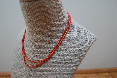 Art Deco Red natural coral necklace Korallenkette Rote Koralle Doppelreihig