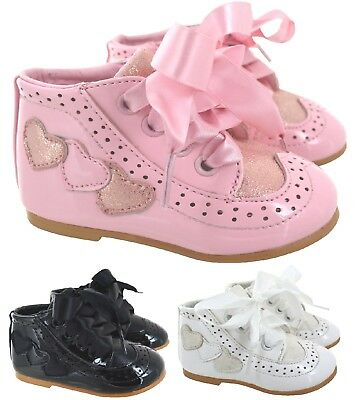 Girls Baby Childrens Kids Ribbon Stain Lace Wedding Party Patent Shoes Size 1-8
