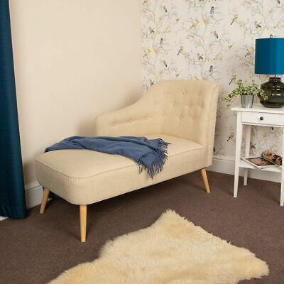 Wido CREAM LINEN CHAISE LONGUE SOFA ARMCHAIR SEAT CHAIR LOUNGE VINTAGE BED