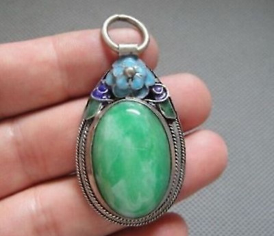 New Fashion Rare Antique Chinese Silver Enamel Mosaic jade Pendant
