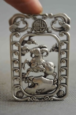 Collectable Handwork Miao Silver Carve Zodiac Sheep Noble Souvenir Rare Pendant