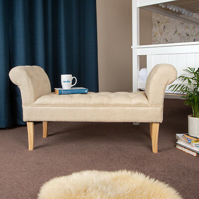 Wido CREAM LINEN END OF BED CHAISE LONGUE SOFA ARMCHAIR SEAT CHAIR LOUNGE BENCH