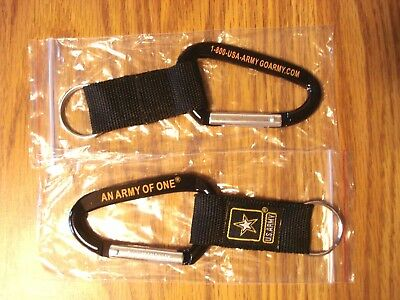 "U.s.a. Army Carabiner Keychain ""an Army Of One"" Black Gold New Strong Nylon Mesh"