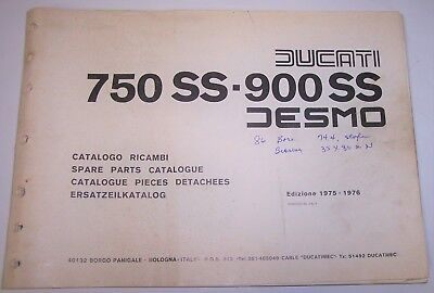 Ducati Desmo 750Ss 900Ss Factory Spare Parts Book Catalog 750 900 Ss 1975 1976