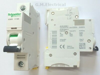 SCHNEIDER ACTI9 iC60H 16 AMP TYPE C 16A SINGLE POLE / PHASE BREAKER MCB A9F54116