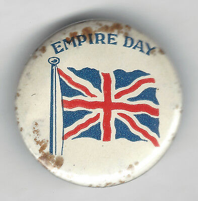 EMPIRE DAY button badge - Union Jack on white background - A.W.PATRICK maker