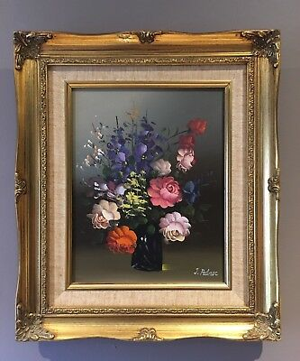 Original Art Oil On Canvas Floral Painting, Still Life Flowers In Bowl J Palmer