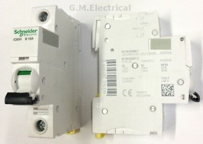 SCHNEIDER ACTI9 iC60H 16 AMP TYPE B 16A SINGLE POLE PHASE BREAKER / MCB A9F53116
