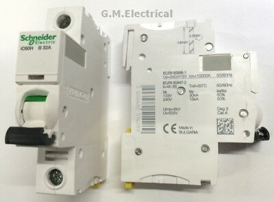 SCHNEIDER ACTI9 iC60H 32 AMP TYPE B 32A SINGLE POLE PHASE BREAKER / MCB A9F53132