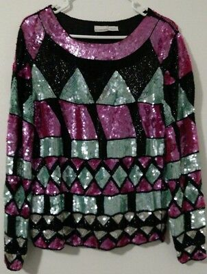 Sequin Women's Top Shirt Retro Sweater Black Pink Blue Silver Small Silk