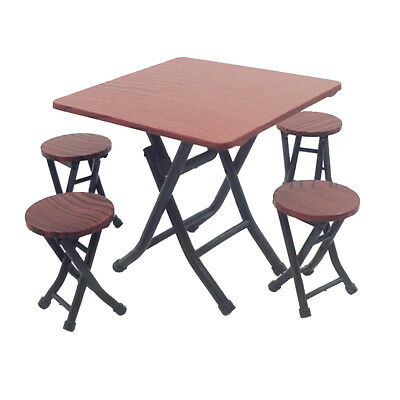 Retro 12th Miniature Brown Table Chairs Set for Dollhouse Dining/Living Room