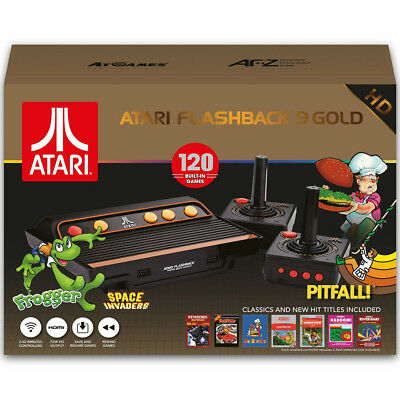 Atari Flashback 9 720p  HD Gold Classic Game Console w 120 Games & 2 Controllers