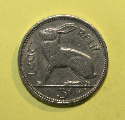 Ireland 3 Pence 1965 Extremely Fine Coin - Hare