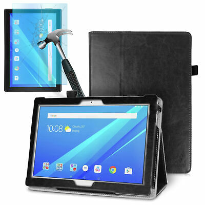 August® Luxury Leather Smart Case Cover & Tempered Glass for Lenovo Tab E10 32Gb