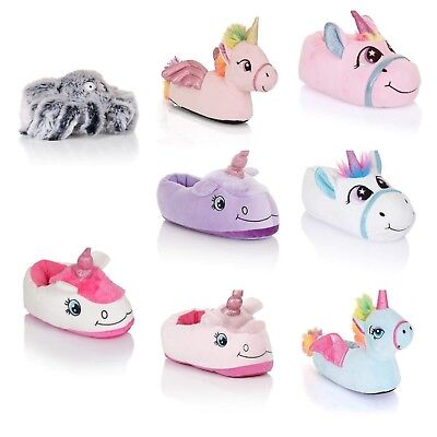 Womens Girls Novelty 3D Character Plush Unicorn Animal Slipper Soft Slip-On 10-3