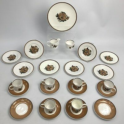 SUSIE COOPER WEDGEWOOD White Brown Reverie China Afternoon Tea Set Classic 28988
