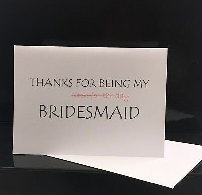 Bridesmaid Thank You Card Handmade Personalised Wedding Maid Of