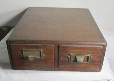 Vintage Antique 2 Drawer Oak Wood Dovetailed Library File Card Catalog