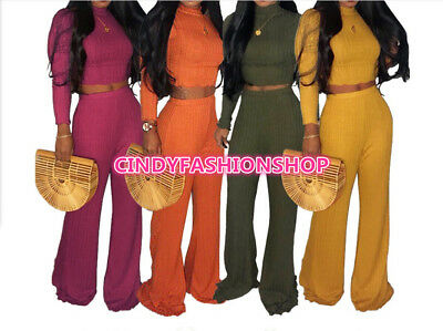 USA Women Two  Piece Set Turtleneck Sexy Knitted Top+Wide Leg  Pants Out fits