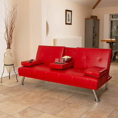 Red Faux Leather Sofa Bed Modern 3 Seater Settee Futon Z Bed Armchair Wido