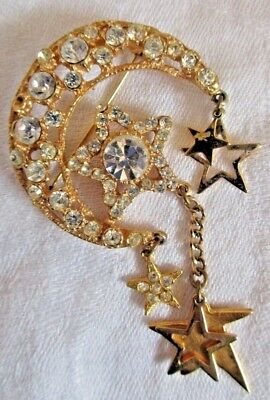 GC604 20 Moon and Star Charms Antique Gold Tone 2 Sided