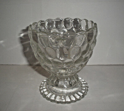 Vintage Avon Oval Bubbled and Ribbed Clear Glass Footed Small Bowl or Dish MINT