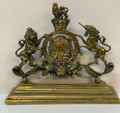 ANTIQUE Brass DOOR STOP Porter Coat of Arms Armorial Royal  19th century