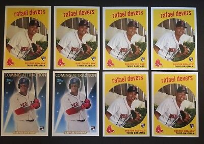 Lot of 8 2018 Topps Archives Rafael Devers Rookie Cards Boston Red Sox