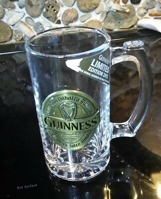Guinness Beer Stein Mug Glass Lmtd Edition Numbered Gold Pewter Badge 2013