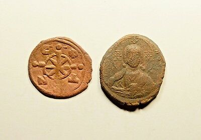 Anonymous Follis - Ancient Byzantine Bronze Coin - LOT OF 2