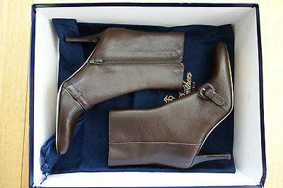 83120320248e NIB Brooks Brothers Women Brown Pebble Grain Leather Boots 5 9.5 10 MSRP   448