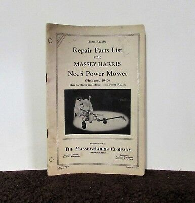 Parts list Massey Harris No 5 power mower vintage circa 1940 Authentic edition
