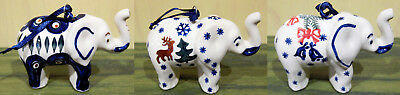 Boleslawiec Polish Pottery Christmas Holiday Ornament ELEPHANT assorted New