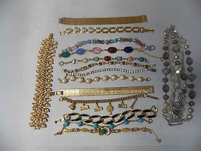 Lot of 15 Vintage Costume Bracelets, few signed, scarab, charm & faux pearls